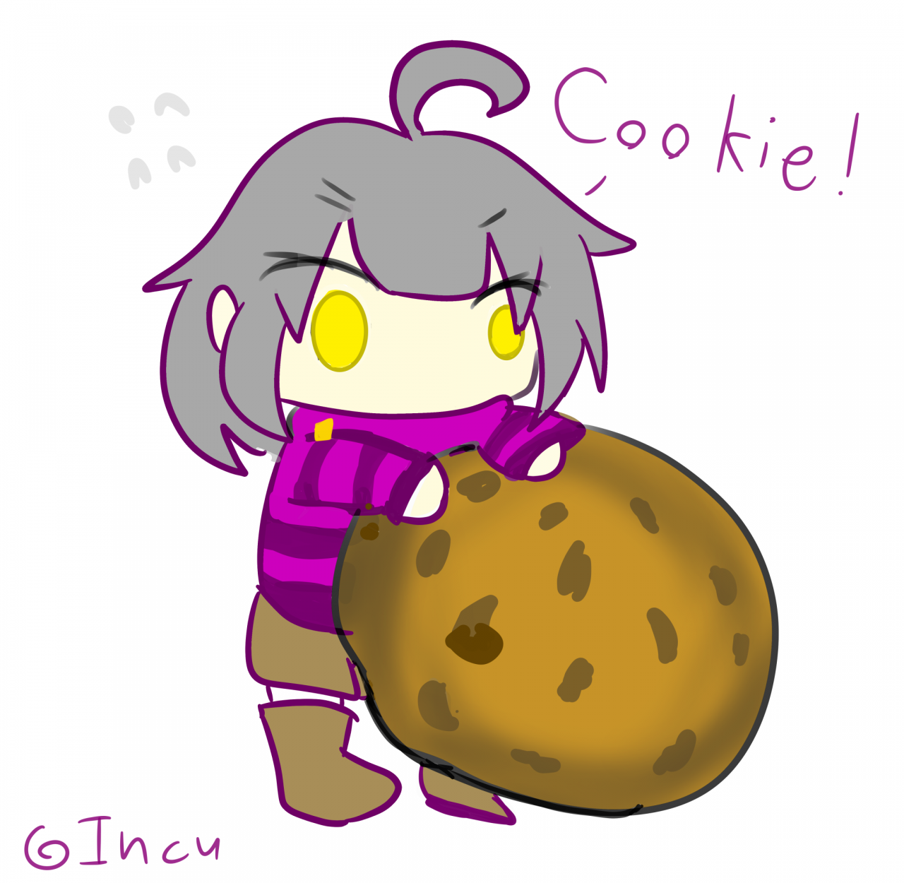 I was practicing On drawing chibis so here you go, Don't  steal the smol me's cookie...