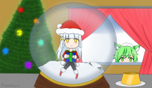 Alice in a snow globe
